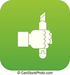 Hand hoding construction utility knife icon digital green
