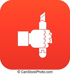 Hand hoding construction utility knife icon digital red