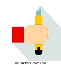 Hand hoding yellow construction utility knife icon