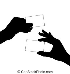 hand hold a blank card silhouette