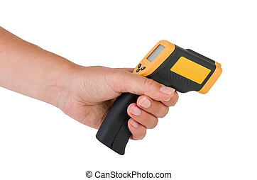 Hand hold a non-contact IR thermometer - Hand hold a...