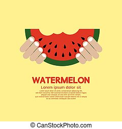 Hand Hold A Piece Of Watermelon.