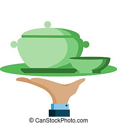 hand hold a serving tray with green pot and bowl, vector illustration
