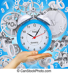 Hand hold alarm clock with figures and gears. Blue...
