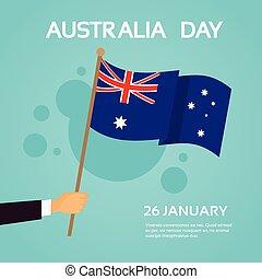Hand Hold Australia Flag National Holiday Day Banner