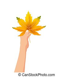 Hand hold autumn colorful leaf bright bouquet fall, floral. Hello Autumn lettering. Vector illustration isolated