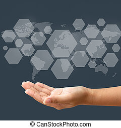 Hand hold blank icon on touch screen interface, wolrd map background