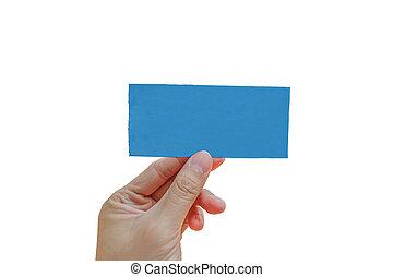 Hand hold blue ticket