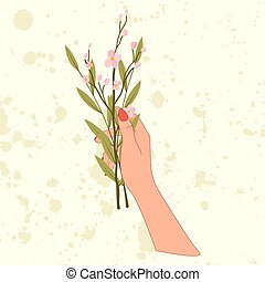 Hand hold bouquet with pink cherry blossom and branch of olive leaf