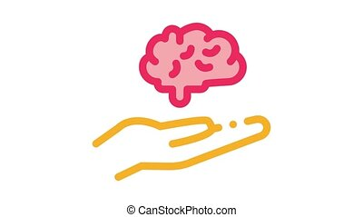 hand hold brain Icon Animation. color hand hold brain animated icon on white background