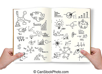 Hand hold Business concept and graph drawing on book