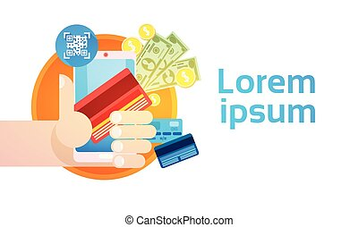 Hand Hold Cell Smart Phone Application Online Banking Payment Banner