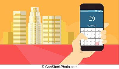 Hand Hold Cell Smart Phone Application Online Calendar Banner