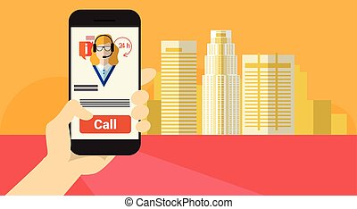 Hand Hold Cell Smart Phone Application Online Call Center Client Support Banner
