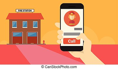 Hand Hold Cell Smart Phone Application Online Fireman Call Banner