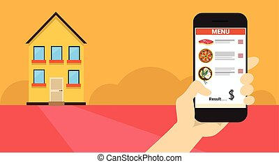 Hand Hold Cell Smart Phone Application Online Food Delivery Banner