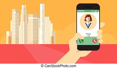 Hand Hold Cell Smart Phone Application Online Incoming Call Banner