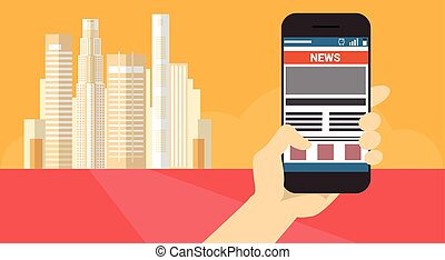 Hand Hold Cell Smart Phone Application Online Newsletter Banner