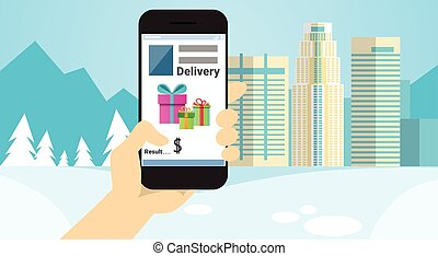 Hand Hold Cell Smart Phone Application Online Shopping Banner