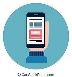 Hand Hold Cell Smart Phone Icon Web Button On Round Blue Background