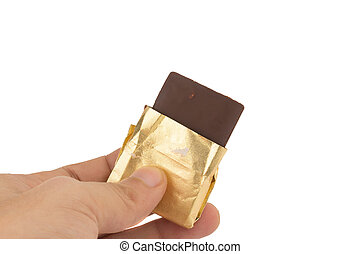 hand hold chocolate isolated on white background
