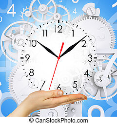 Hand hold clock with figures and gears. Blue background