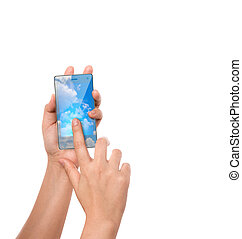 Hand hold cloud computing touch screen mobile phone