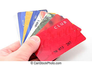 hand hold credit cards