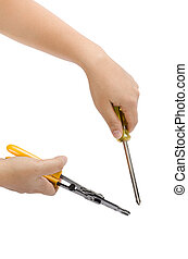Image of hand holding cutting pliers and screw driver isolate on white background