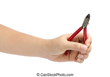 Image of hand holding cutting pliers isolate on white background