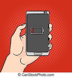Hand hold discharged phone pop art vector