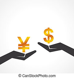 Hand hold dollar and yen symbol