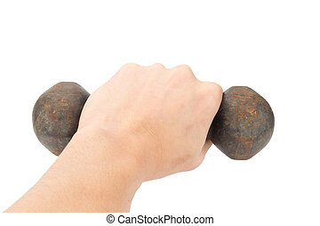 hand hold dumbell isolated on white background