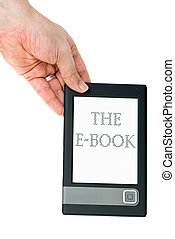 Hand hold e-book reader isolated on the white background