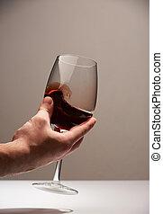 Hand hold elegant glass