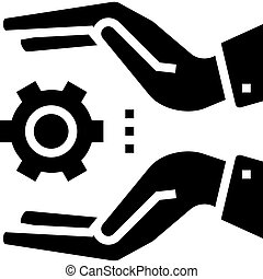 hand hold gear glyph icon vector illustration