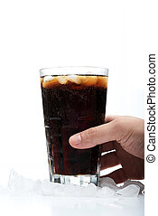 hand hold glass with soda