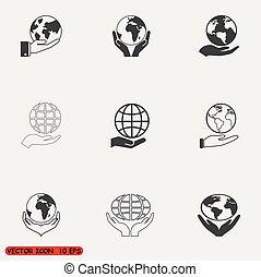 Hand hold globe icons set