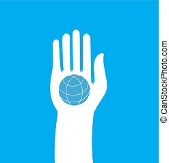 Hand hold globe - vector icon