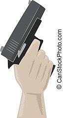 Hand Hold Gun Illustration