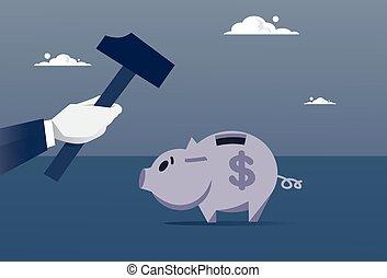 Hand Hold Hammer Broking Piggy Bank With Savings Flat Vector...