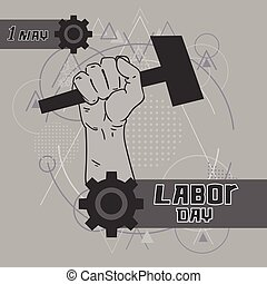 Hand Hold Hammer Labor Day May Holiday Over Triangle Geometric Background