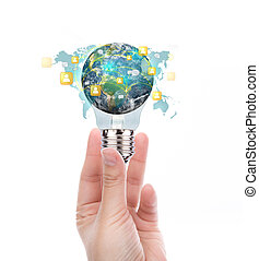 Hand hold Light Bulb with earth of social network (Elements of this image furnished by NASA)