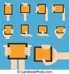 Hand hold mobile device in flat design