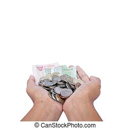 Hand hold money Isolate background