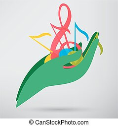 hand hold music note vector icon