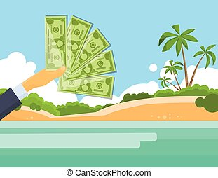Hand Hold One Hundred 100 Dollars Banknote Tropical Island Palm Tree Offshore Banking Concept Flat Illustration