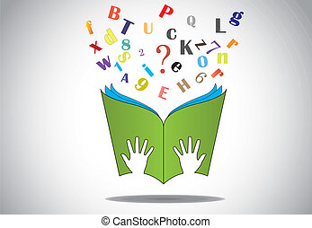 hand hold open book flying letters - hand holding open book ...