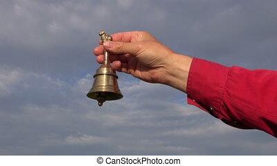 hand hold ornamental  brass bell