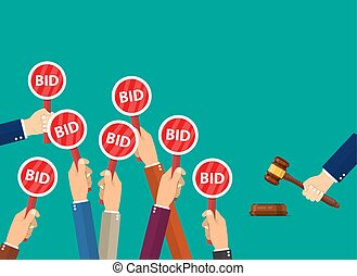 Hand hold paddle with BID. Auction meeting. Business bidding...